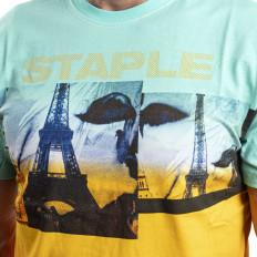 Modro béžové tričko Staple Pigeon World fade tee