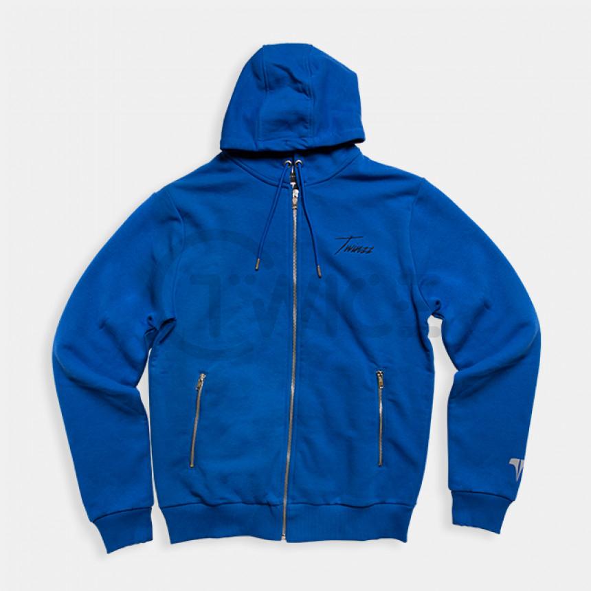 Modrá mikina na zips s kapucí TWINZZ STEFANO
