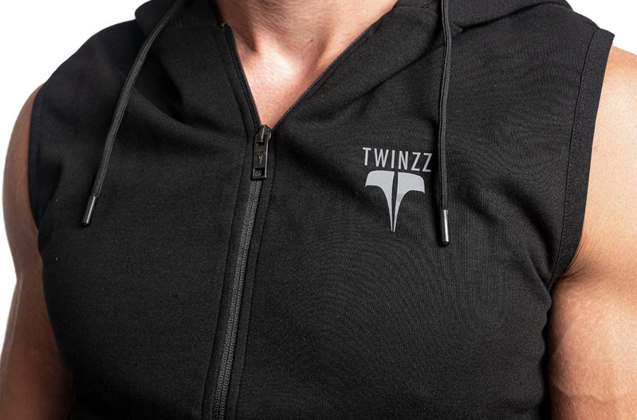 Černé tričko bez rukávů Twinzz Fitness