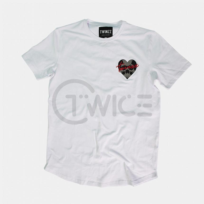 Bílé tričko Raza Skullheart