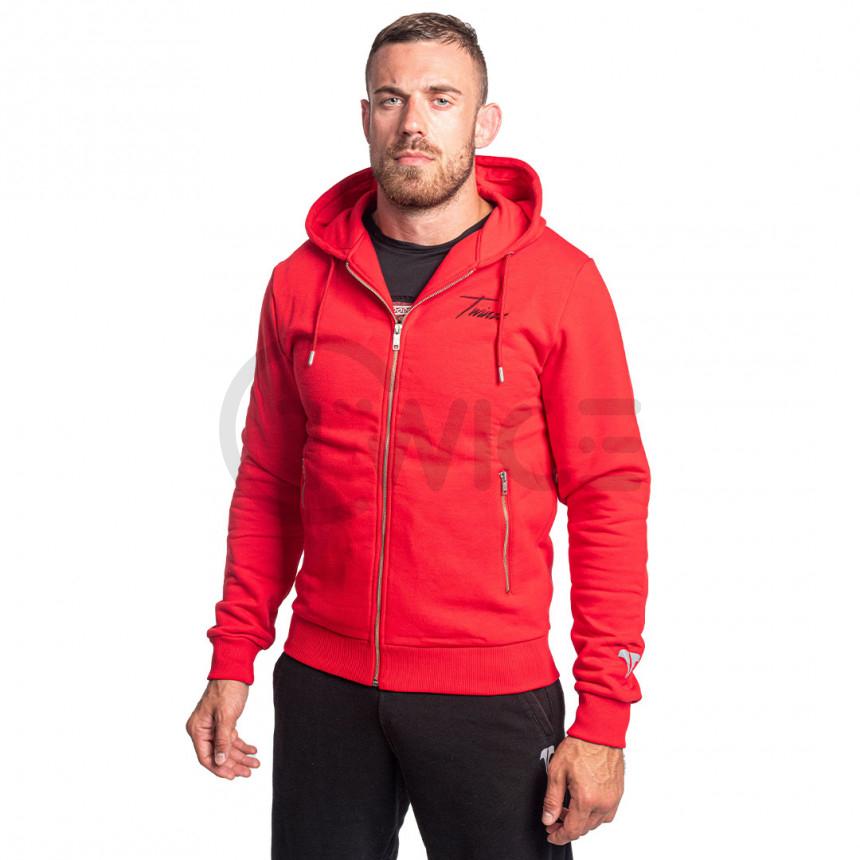Červená mikina na zips s kapucí TWINZZ STEFANO