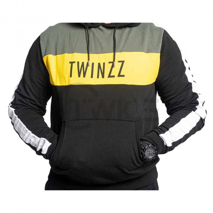 Černo žlutá mikina s kapucí a klokaní kapsou Twinzz NELSON