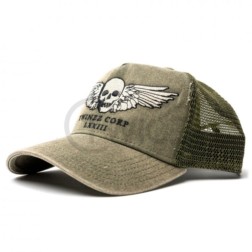 Zelená kšiltovka TWINZZ Winged Skull Trucker