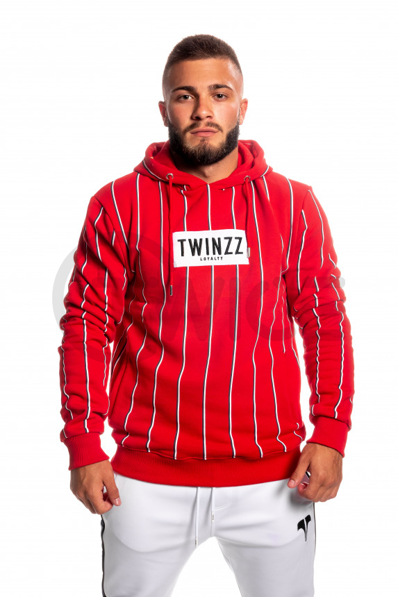 Červená mikina s kapucí TWINZZ  Virgili Stripe