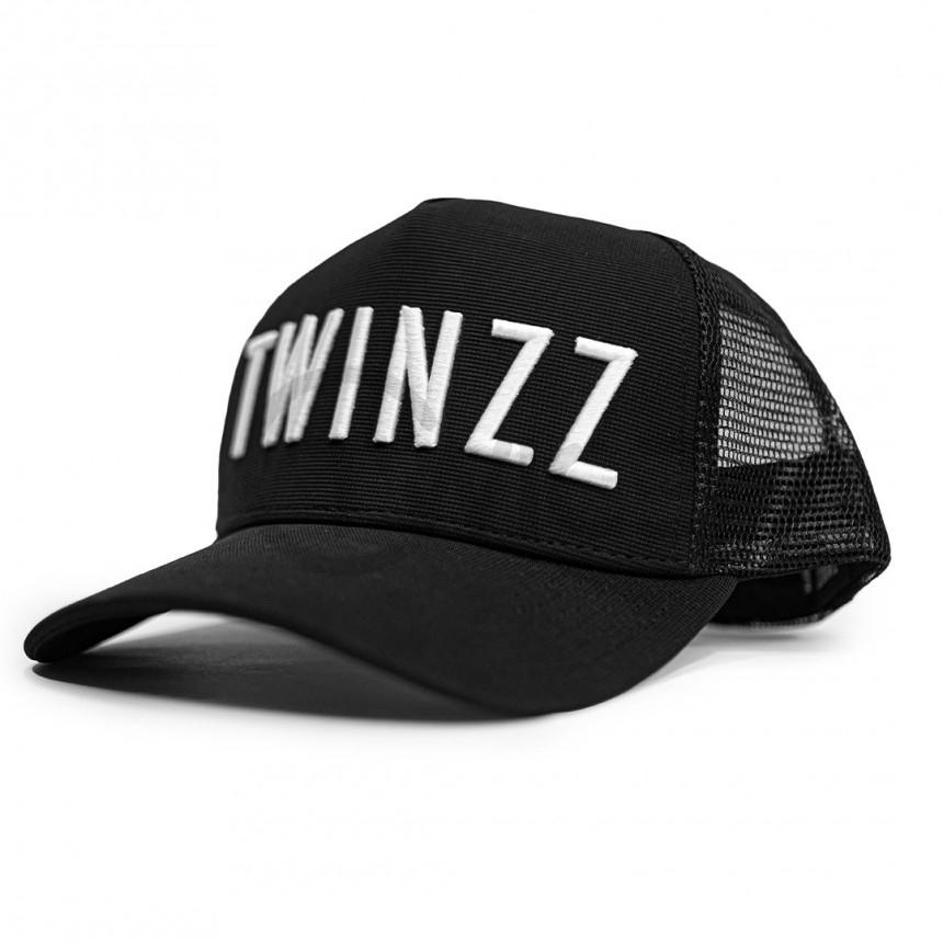 Černá kšiltovka Twinzz Trucker s bílým nápisem
