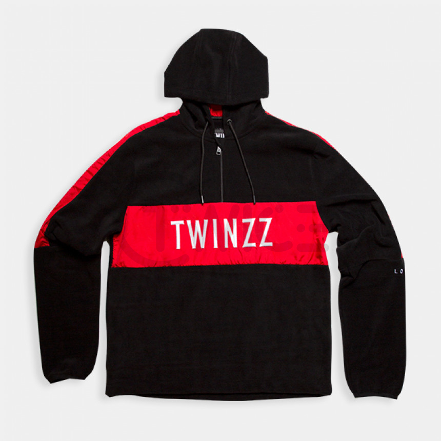 Černo červená plyšová mikina Twinzz Warren